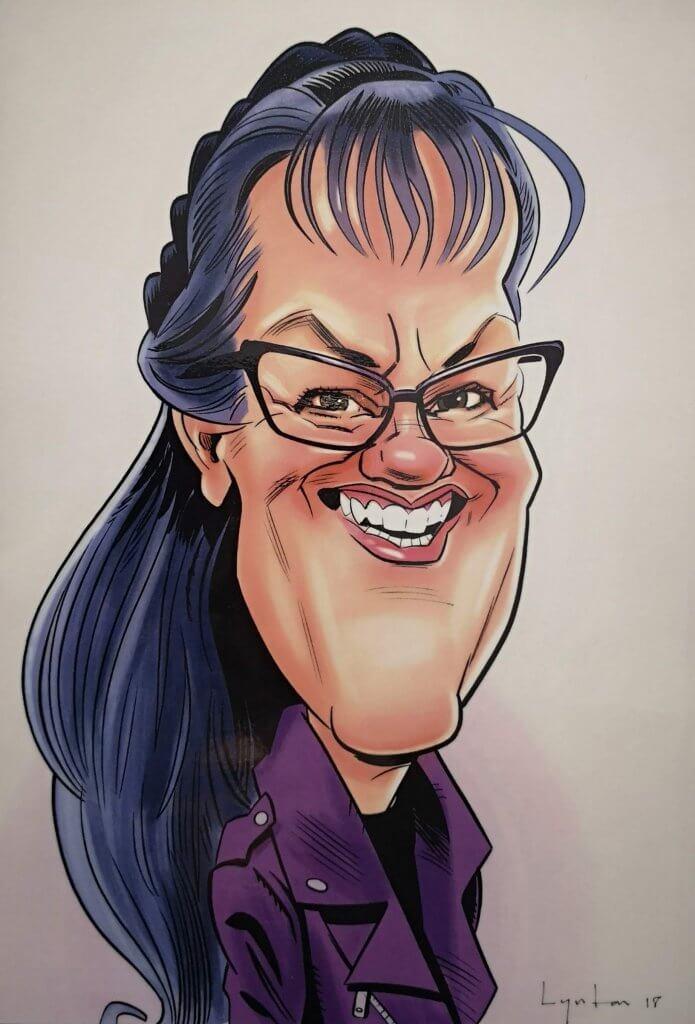 Caricature of Dianne Ashcroft - Potty Purple Podiatrist